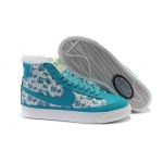 Nike Blazers High Tops Flowers Womens Shoes Aqua White