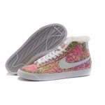 Nike Blazers Womens High Tops Flowers Shoes Pink White