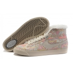 Nike Blazers Womens High Tops Fur Shoes Beige Pink