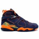 Air Jordan Retro 8 ls midnight navy pea pod orange blaze 316324-481